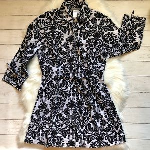 Tommy Bahama Black & White Floral Tunic Small